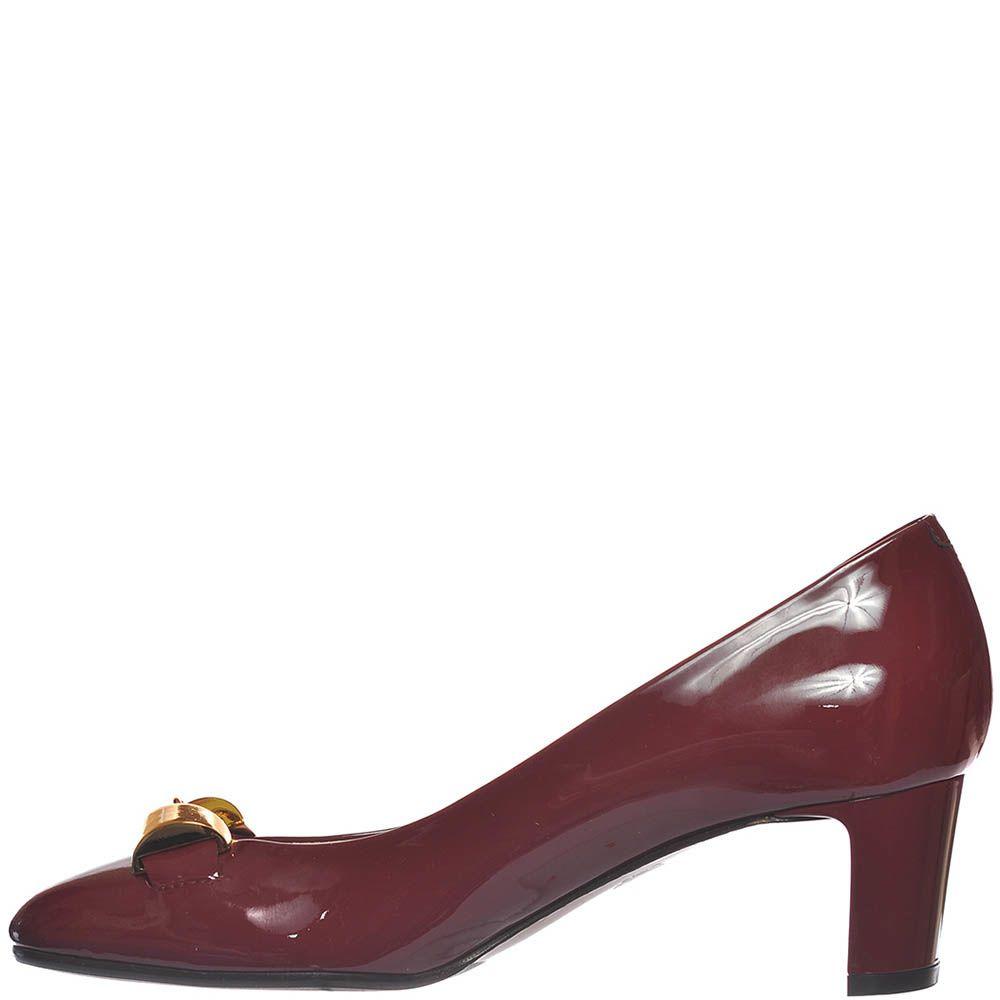 Туфли Giorgio Fabiani из лаковой кожи цвета марсала с золотистым декором