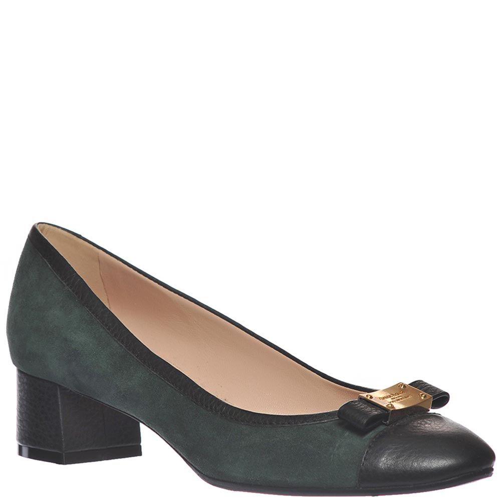 Замшевые туфли Giorgio Fabiani темно-зеленого цвета с отделкой из черной крупнозернистой кожи