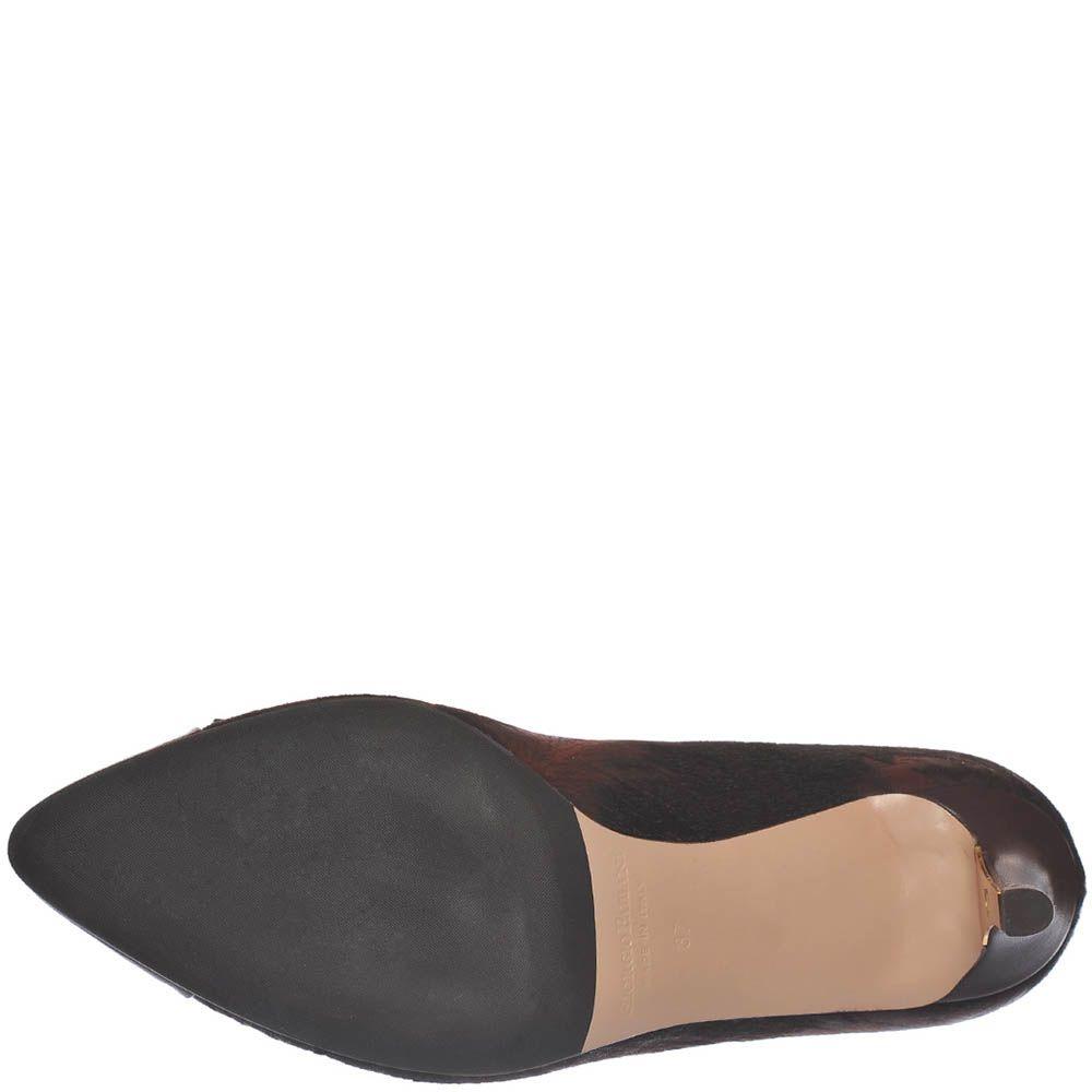 Кружевные туфли-лодочки Giorgio Fabiani темно-коричневого цвета