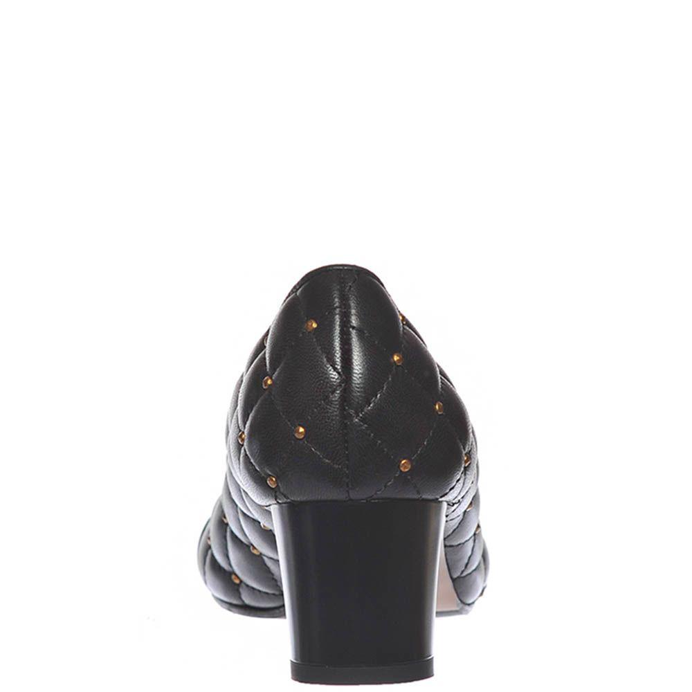 Стеганные туфли Giorgio Fabiani из кожи черного цвета с золотистыми заклепками