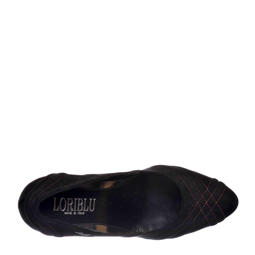 Замшевые туфли Loriblu черного цвета на каблуке