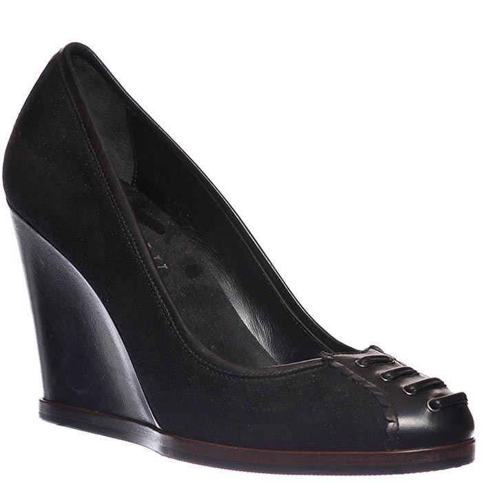 Туфли Loriblu из кожи черные на высокой танкетке