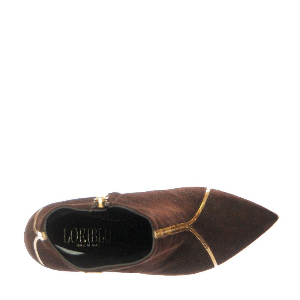 Демисезонные замшевые ботинки Loriblu коричневого цвета на молнии