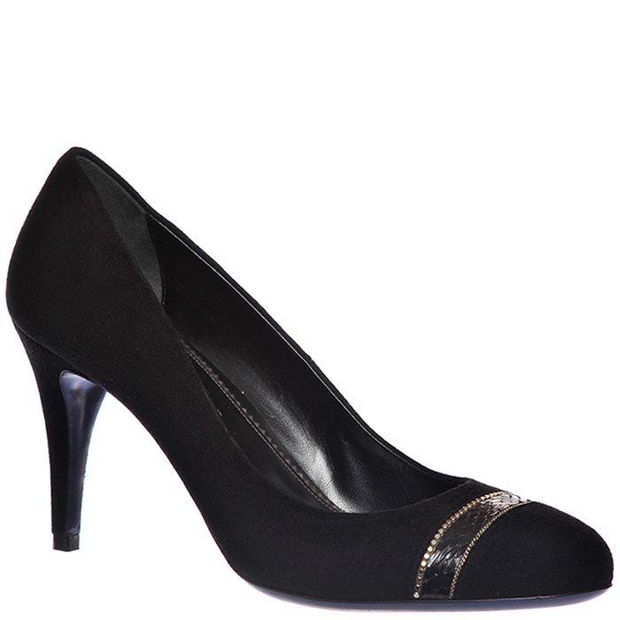 Замшевые туфли Loriblu черного цвета на высоком каблуке