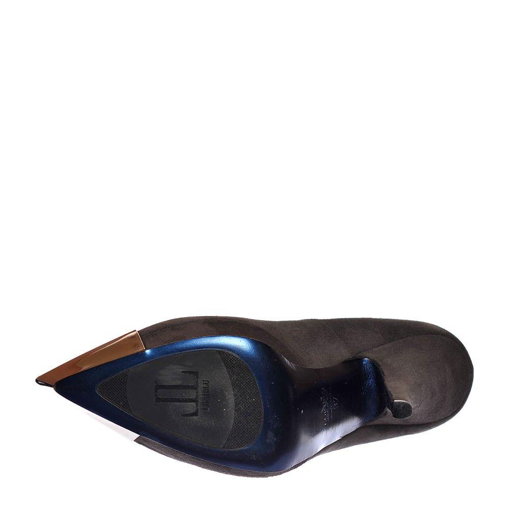 Замшевые туфли Loriblu серого цвета с золотистым носочком