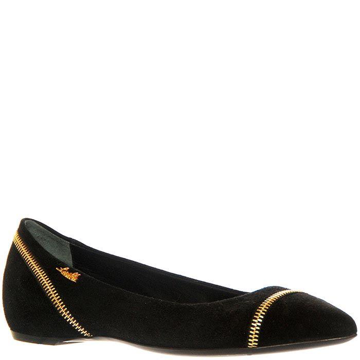 Замшевые туфли Loriblu черного цвета с декоративной молнией