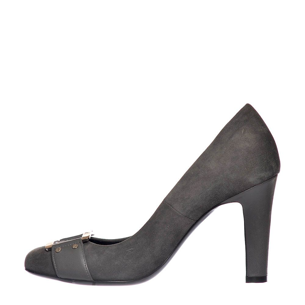 Замшевые туфли Loriblu серого цвета на высоком каблуке