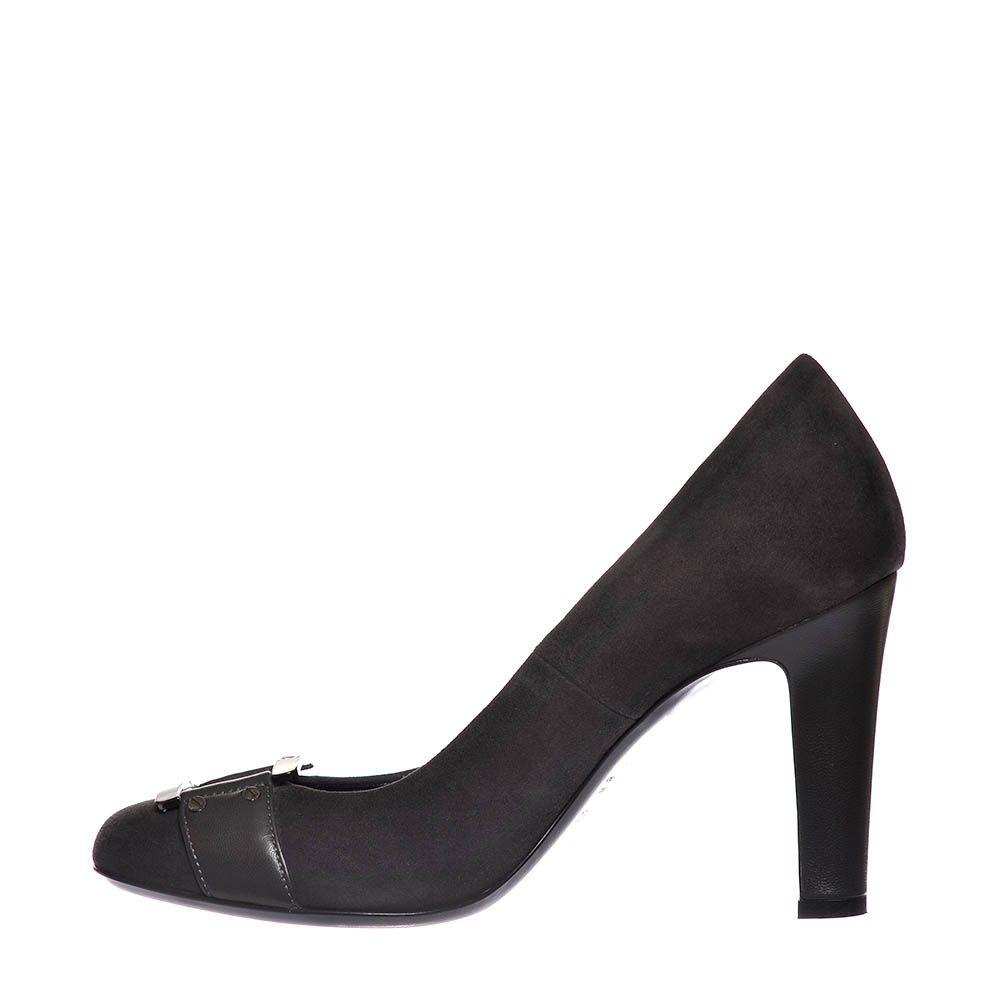 Замшевые туфли Loriblu темно-серые на высоком каблуке