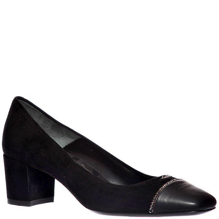 Замшевые туфли Loriblu коричневого черного на высоком каблуке