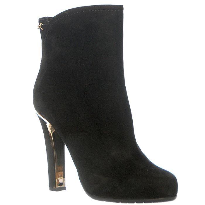 Замшевые ботинки Marino Fabiani черного цвета на молнии и на высоком каблуке