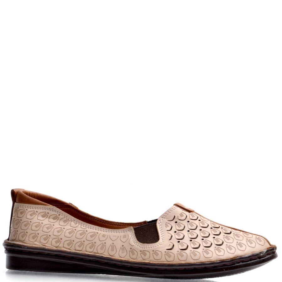 Балетки Prego бежевые с декоративным коричневым швом вдоль носка