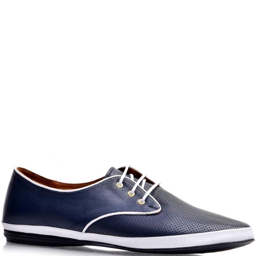 Туфли Prego женские спортивные синего цвета с белой окантовкой