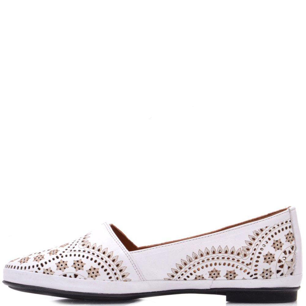 Туфли Prego из натуральной перфорированной кожи белого цвета