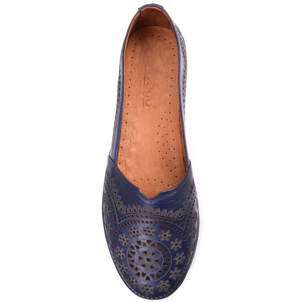 Туфли Prego из натуральной кожи синего цвета на низком каблуке