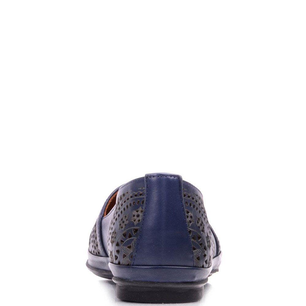 Туфли Prego из кожи синего цвета на низком каблуке