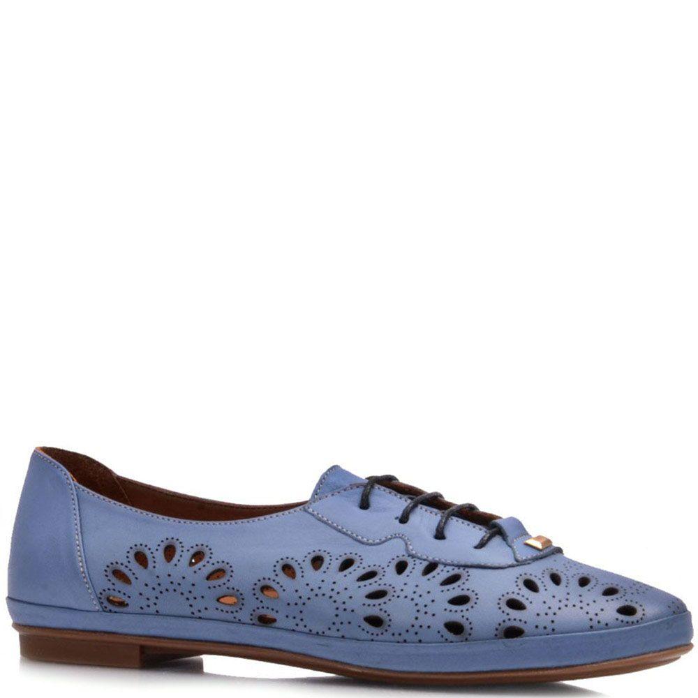 Туфли на шнуровке Prego из натуральной матовой кожи синего цвета с перфорацией
