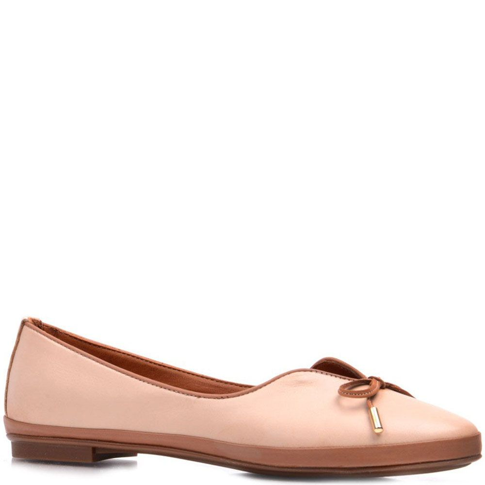 Кожаные туфли-лодочки Prego бежево-коричневые с бантиком
