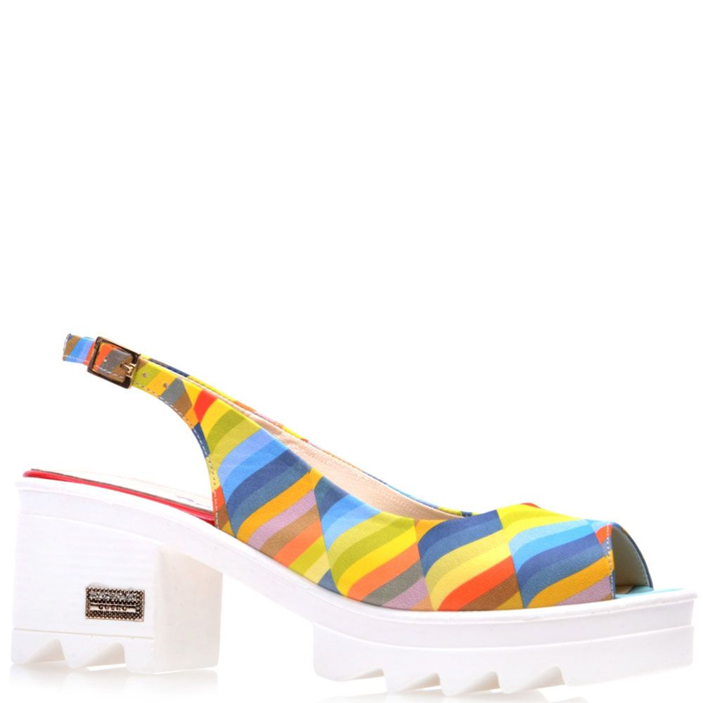 Босоножки Prego из кожи в разноцветную полоску с открытым носочком