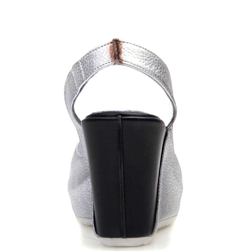 Босоножки Prego из серебристой и черной натуральной кожи с открытым носочком
