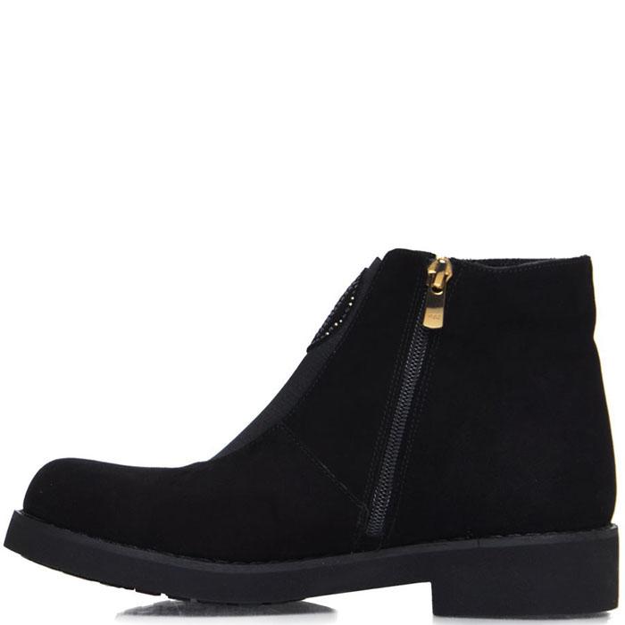Ботинки из замши Prego черного цвета декорированные стразами