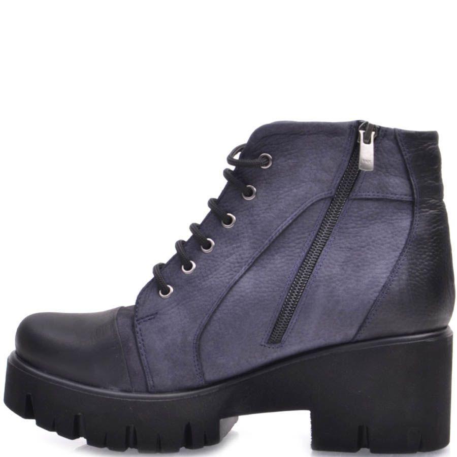 Ботинки Prego из синего и черного нубука на толстом каблуке