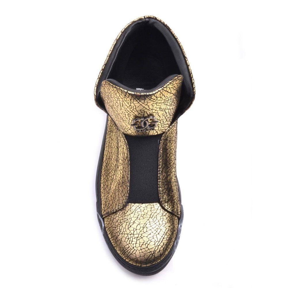 Золотистые слипоны Prego из натуральной кожи с принтом Кракелюры