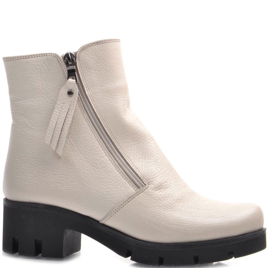 Ботинки Guero зимние кожаные белого цвета с бахромой на собачке молнии