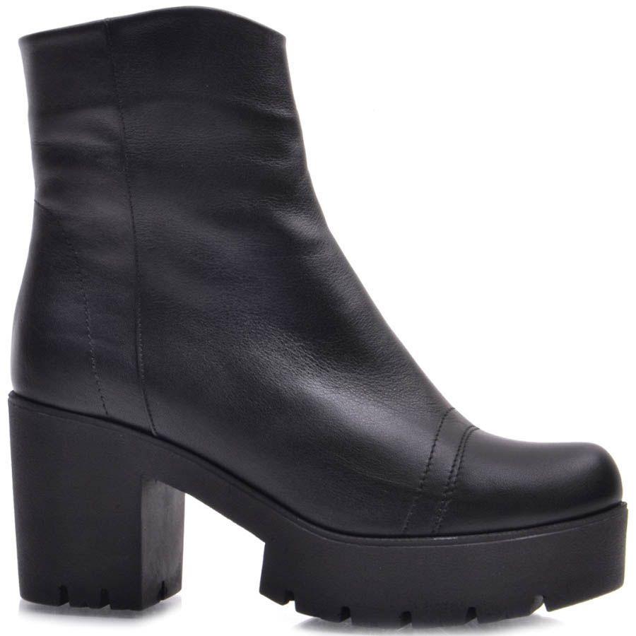 Ботинки Guero зимние кожаные черного цвета со строчками на носочке