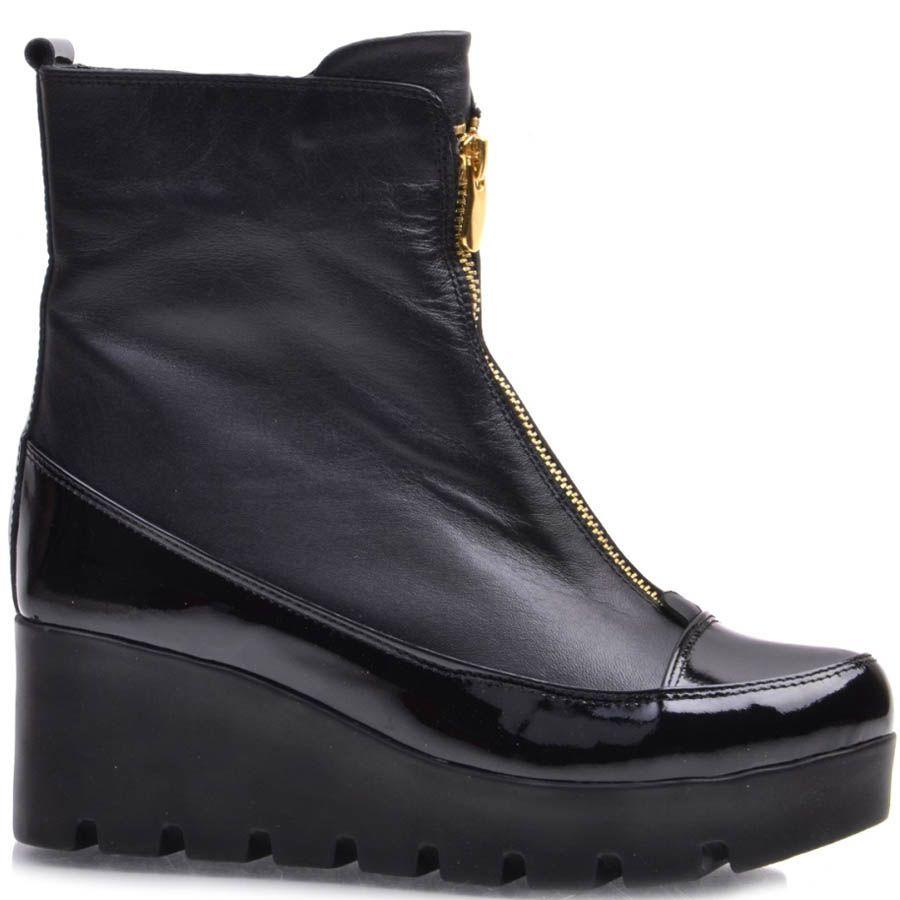 Ботинки Guero зимние с лаковыми вставками и с золотистой молнией