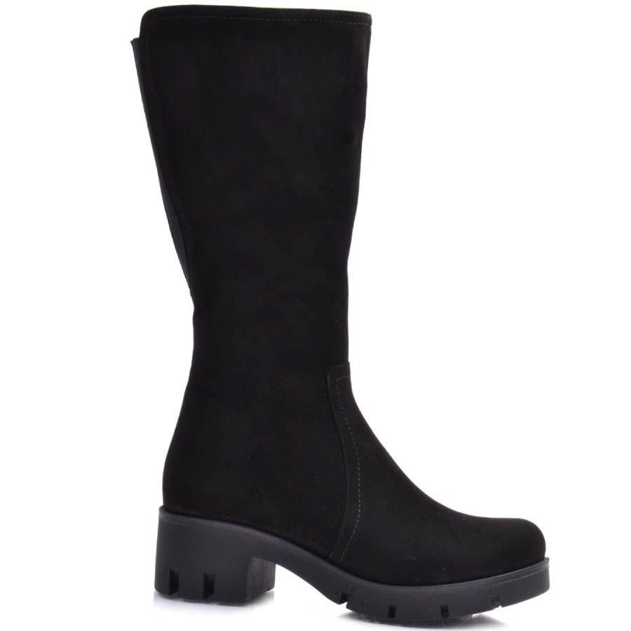 Сапоги Guero зимние замшевые черного цвета минималистичные с каблуком высотой 5 см