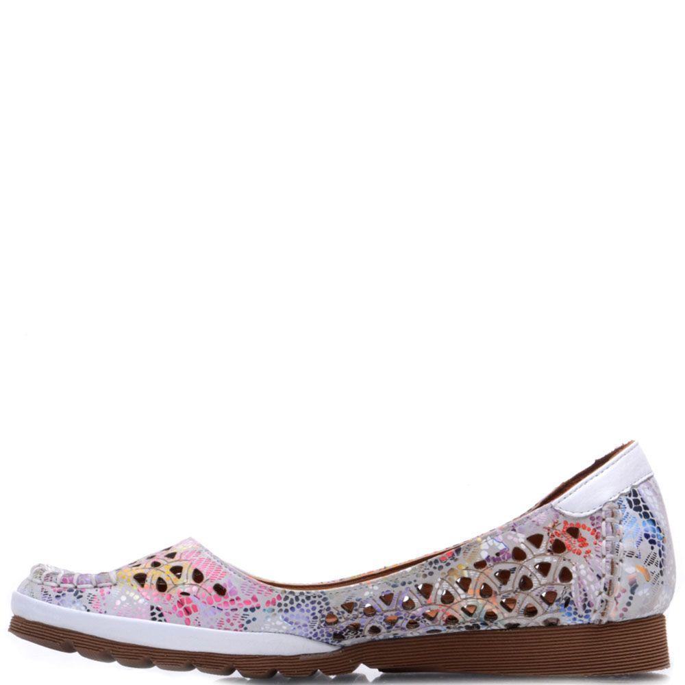 Туфли Prego из натуральной перфорированной кожи с абстрактным принтом
