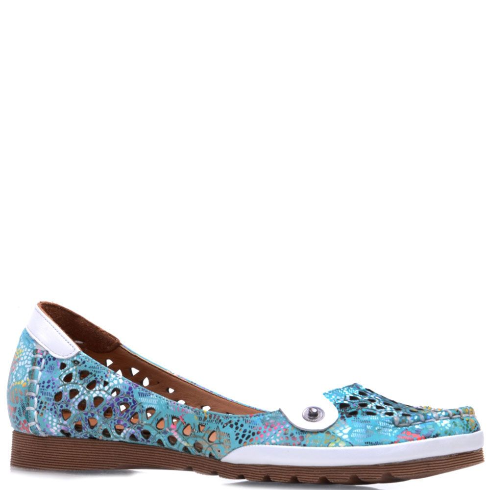 Кожаные туфли Prego бирюзового цвета с перфорацией и коричневой подошвой