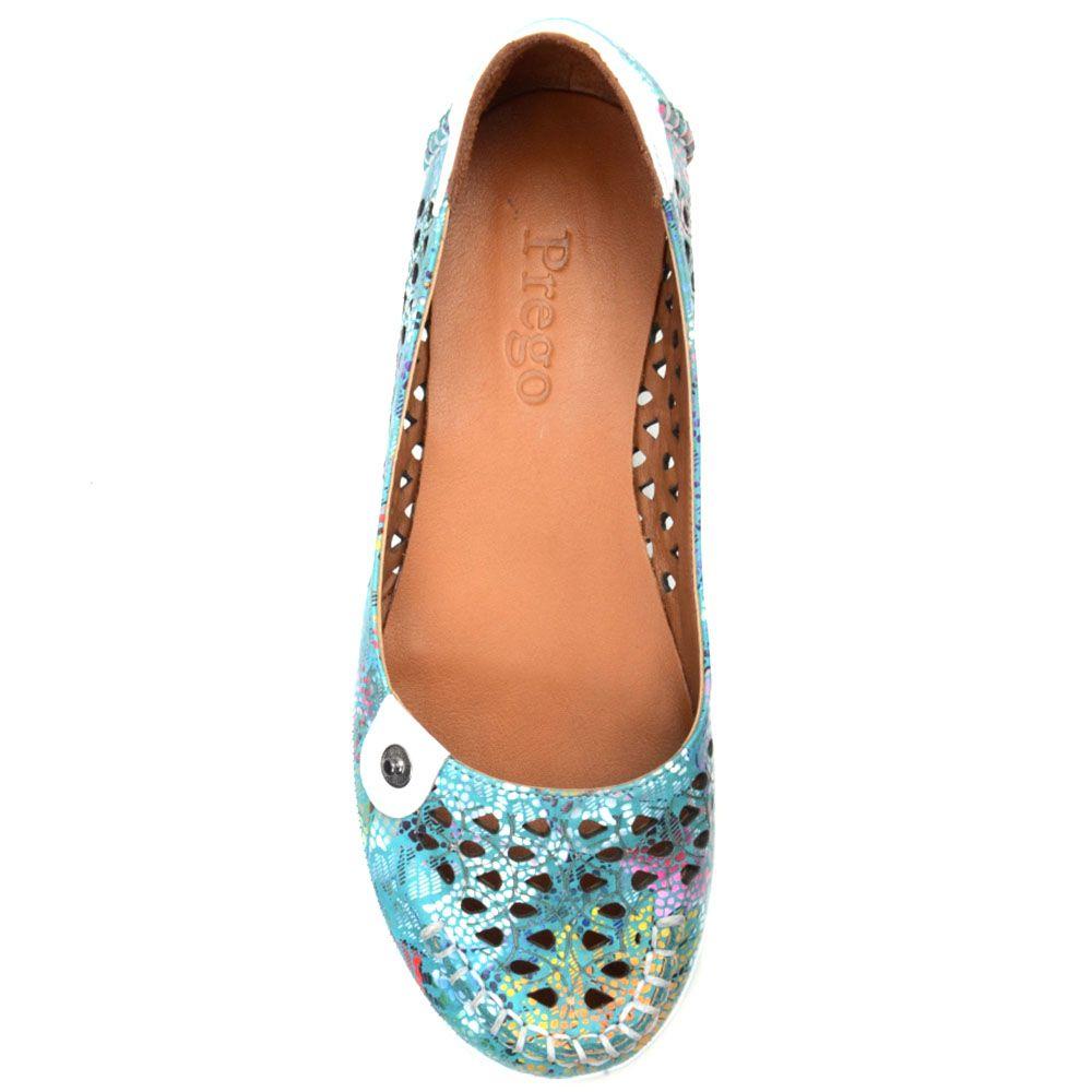 Туфли Prego из кожи бирюзового цвета с перфорацией и коричневой подошвой