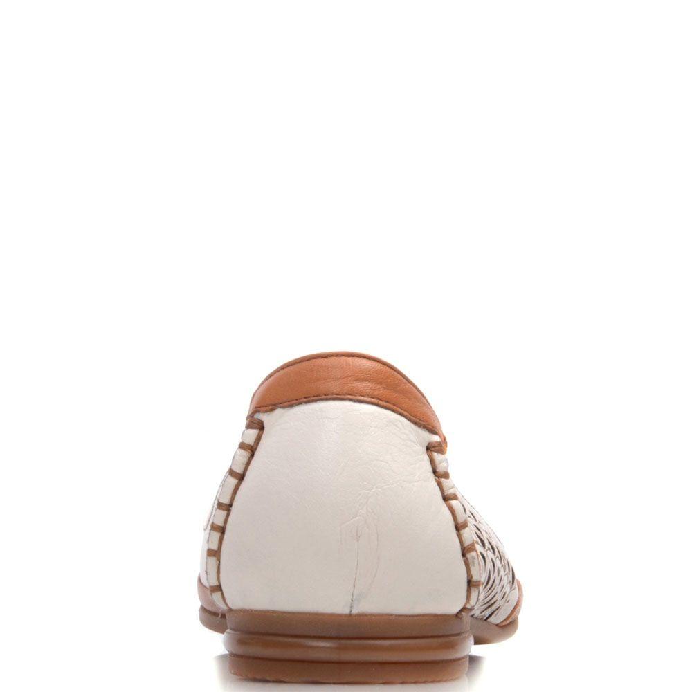 Туфли Prego кожаные бежевого цвета с коричневыми вставками