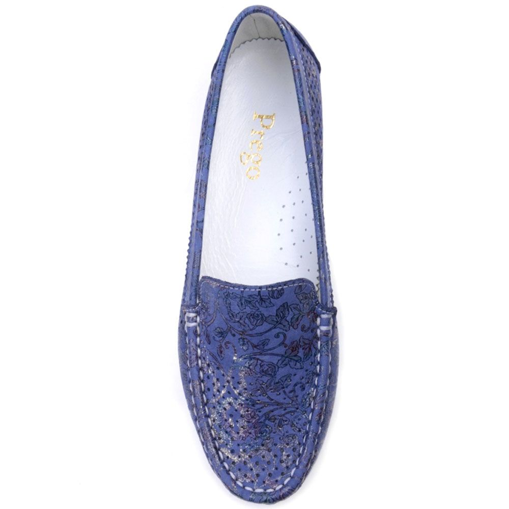 Мокасины Prego из натуральной перфорированной кожи синего цвета с цветочным принтом