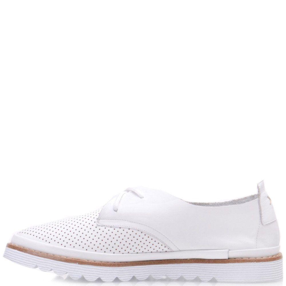 Туфли Prego из кожи белого цвета с мелкой перфорацией