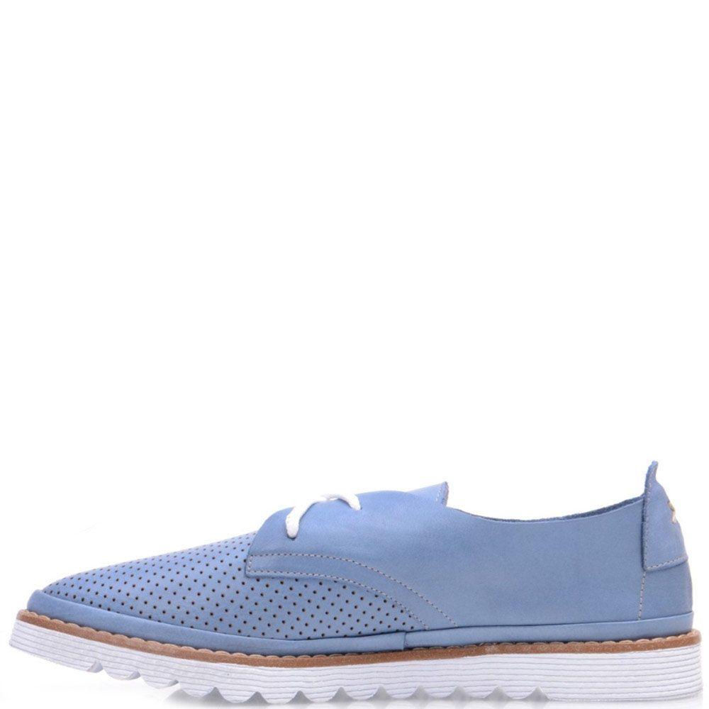 Туфли Prego из матовой кожи голубого цвета с мелкой перфорацией