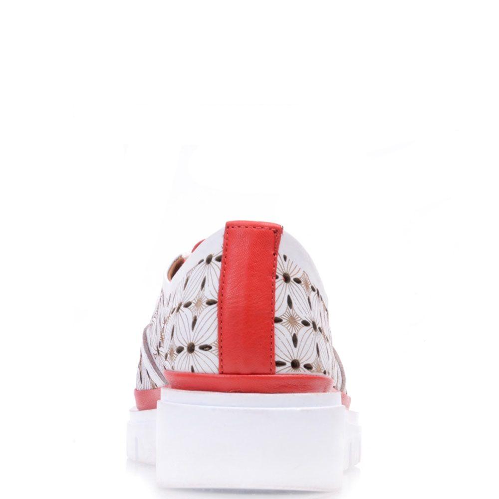 Туфли Prego из кожи с перфорацией на небольшой белой танкетке