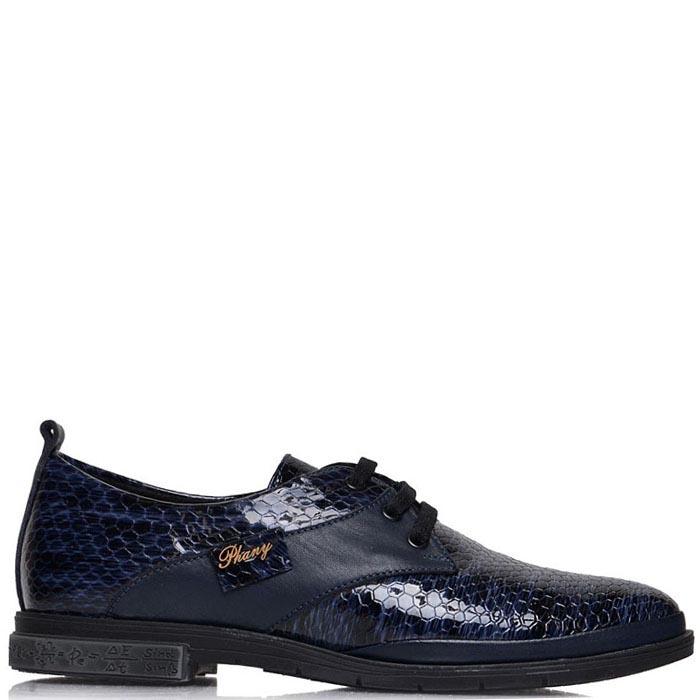 Лаковые туфли Prego синего цвета с тиснением под кожу змеи