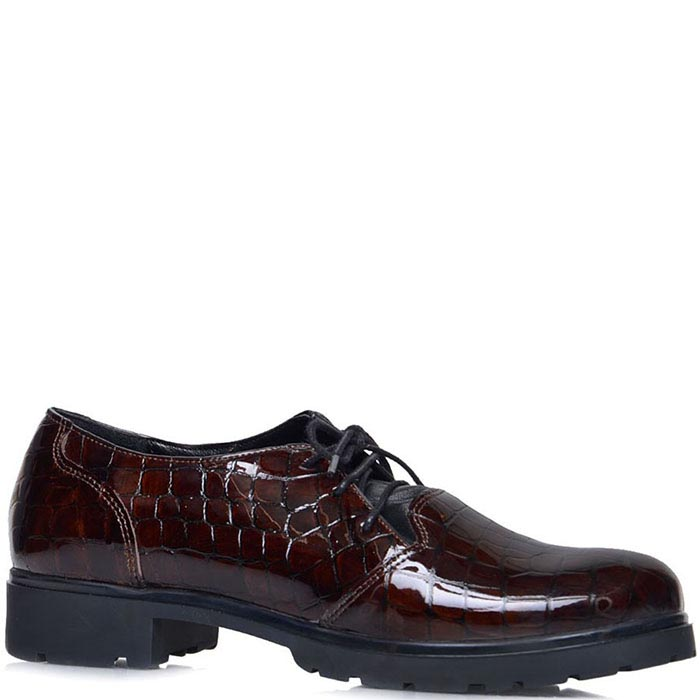 Туфли Prego из лаковой кожи коричневого цвета тисненной под рептилию