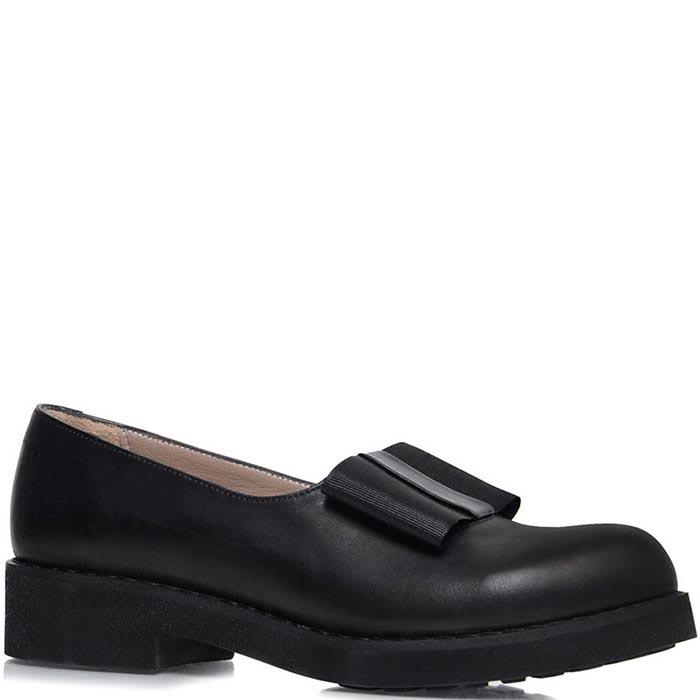 Туфли Prego из кожи черного цвета с текстильным бантиком
