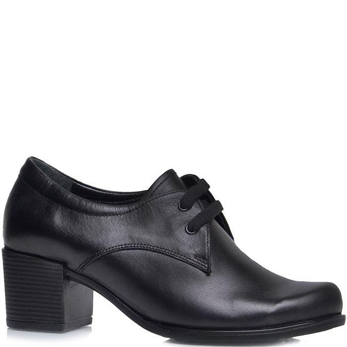 Туфли Prego из кожи черного цвета на шнуровке