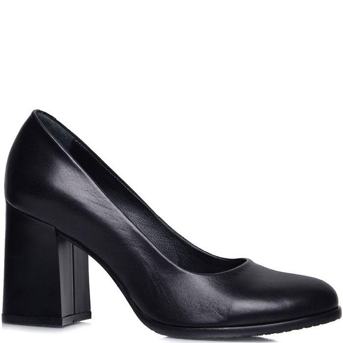 Туфли Prego из натуральной кожи черного цвета на толстом каблуке