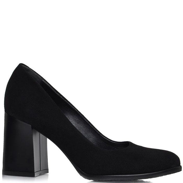 Туфли Prego из натуральной замши черного цвета на толстом каблуке
