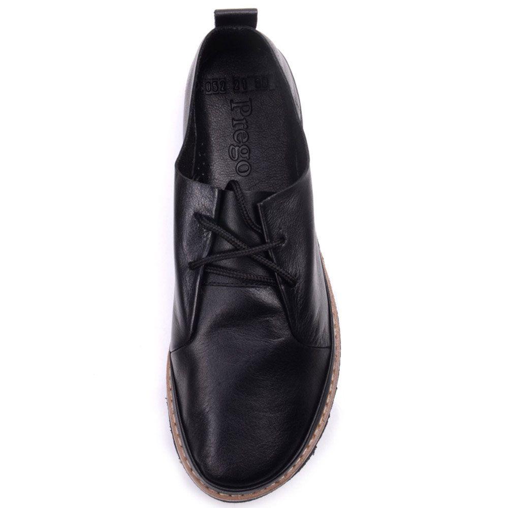 Кожные туфли Prego черного цвета с коричневой полоской вдоль подошвы