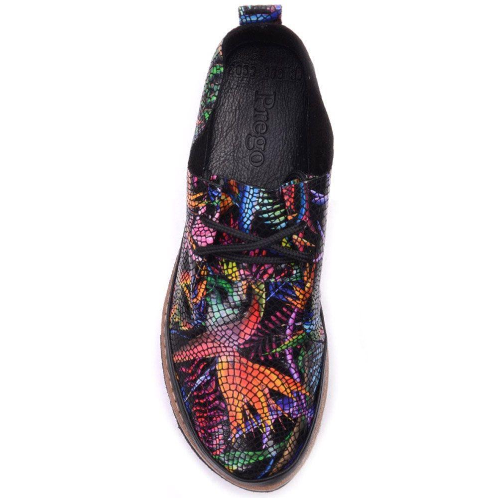 Туфли Prego из фактурной кожи с ярким принтом