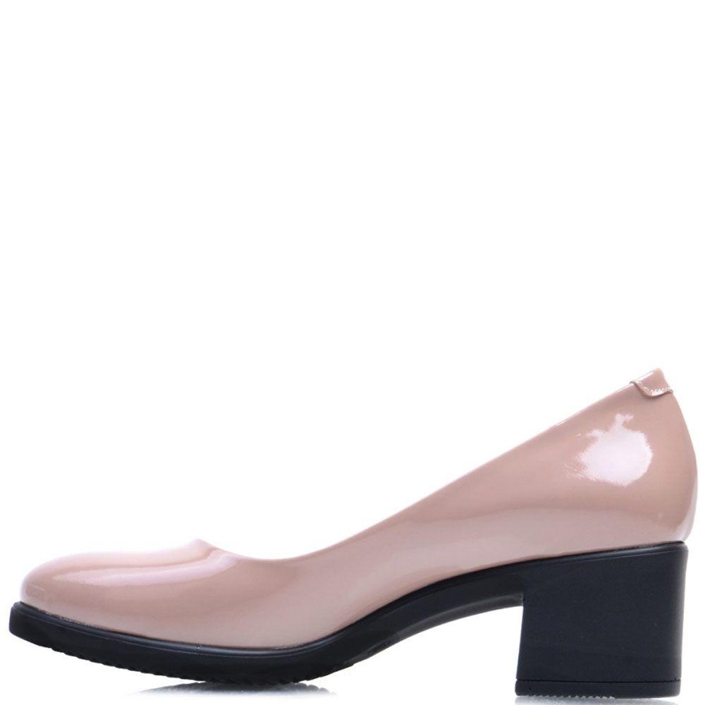 Лаковые туфли-лодочки Prego из кожи пепельно-розового цвета на устойчивом каблуке