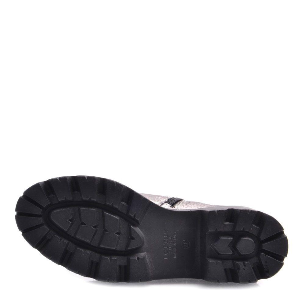 Высокие ботинки Prego из кожи серебристого цвета с металлическим блеском
