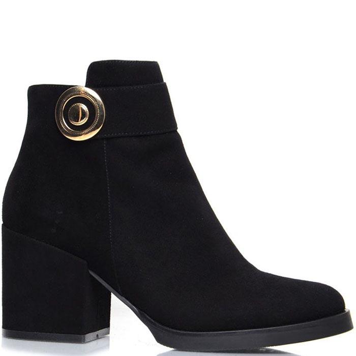 Ботинки Prego из натуральной замши черного цвета с золотистым украшением