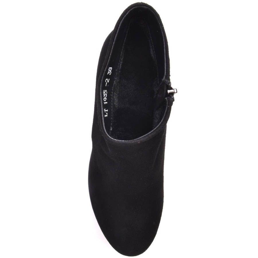 Ботильоны Prego черного цвета замшевые с верхом наискосок и на толстом каблуке